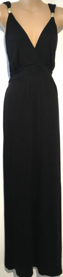NEW LOOK BLACK MAXI JERSEY MATERNITY & NURSING DRESS SIZE 14
